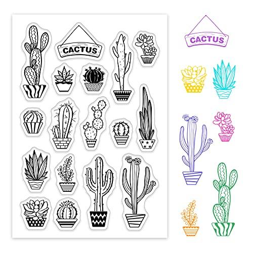 GLOBLELAND Sellos Transparentes de Cactus Sello de Silicona para decoración de fabricación de Tarjetas y álbumes de Recortes de Bricolaje