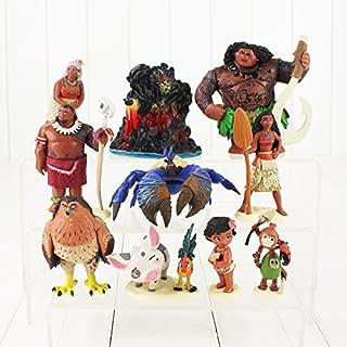 Scallion 10Pcs/Lot Moana Princess Maui Chief Tui Tala Heihei Pig Hawk PVC Figure Doll Animal Model Toys Must-Have Gift Sets Childrens Favourites Superhero Birthday Unboxing Toys