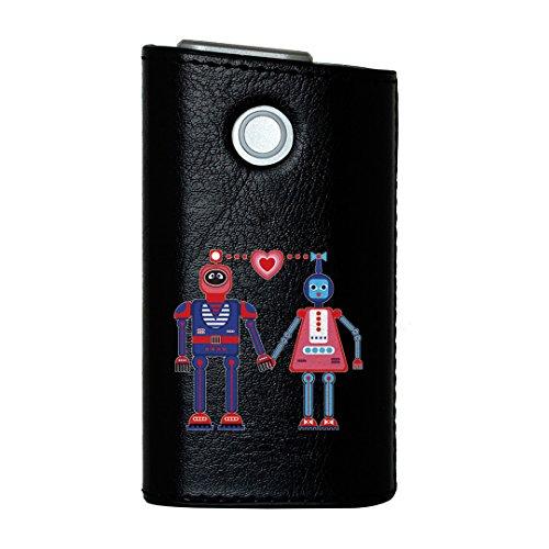 glo グロー グロウ 専用 レザーケース レザーカバー タバコ ケース カバー 合皮 ハードケース カバー 収納 デザイン 革 皮 BLACK ブラック ロボット ハート かわいい 011929