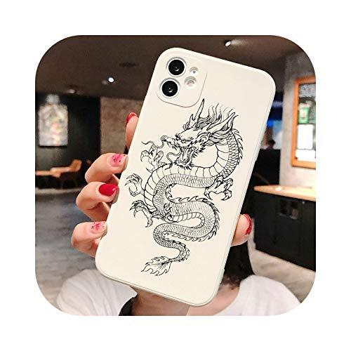 Tai Chi carp Dragon funda de teléfono para iPhone 12 Pro 11 7 8 Plus X XR XS 11 Pro Max 6S Plus SE 2 Fashion Animal Silicona cubierta trasera TPU Q1530-w-For 11 Pro Max