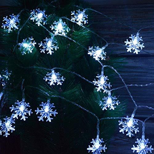 Viilich Cadena de luces de copo de nieve,10 m,100 luces LED de Navidad,enchufar 8 modos de iluminación para árbol de Navidad, hogar,jardín,dormitorio,decoración interior y exterior,color blanco frío