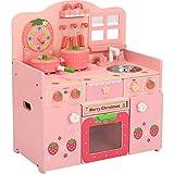 Frühkindliche Küche Spielzeug Große rosa Erdbeere Pretend Küche aus Holz for Kinder Kochen...