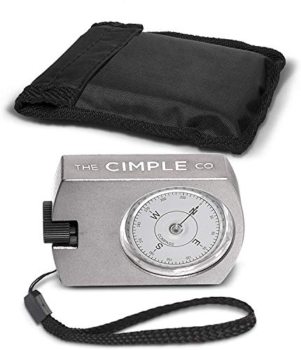 THE CIMPLE CO Aluminum Compass with Azimuth Gauge and Portable Bag - Waterproof Navigation Compass for Hiking Camping Aluminum - Professional Grade