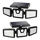 LE Solar Lights Outdoor, Motion Sensor Security Lights, 3 Adjustable Head 70 LED 270° Wide Angle, Waterproof Wireless Wall Lights for Porch Yard Garage Pathway and More, Pack of 2