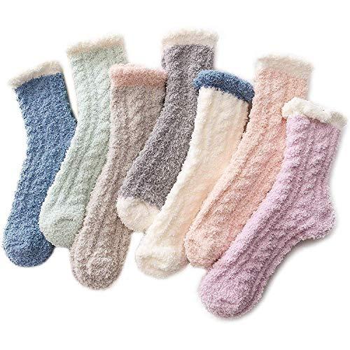 Zando Women's Fuzzy Socks Winter Warm Slipper Socks Super Soft Fluffy Socks Thick Microfiber Sleeping Sock Cozy Plush Socks for Girls 7/Patchwork One...