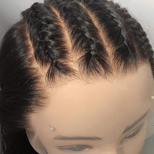 Transparente Lace 150% Density 13x6 Lace Front Wigs Human Hair Bleached Knots Invisible Deep Middle Part Straight Brazilian Remy Hair Wigs Pre Plucked With Baby Hairs For Black Women (20Inches)