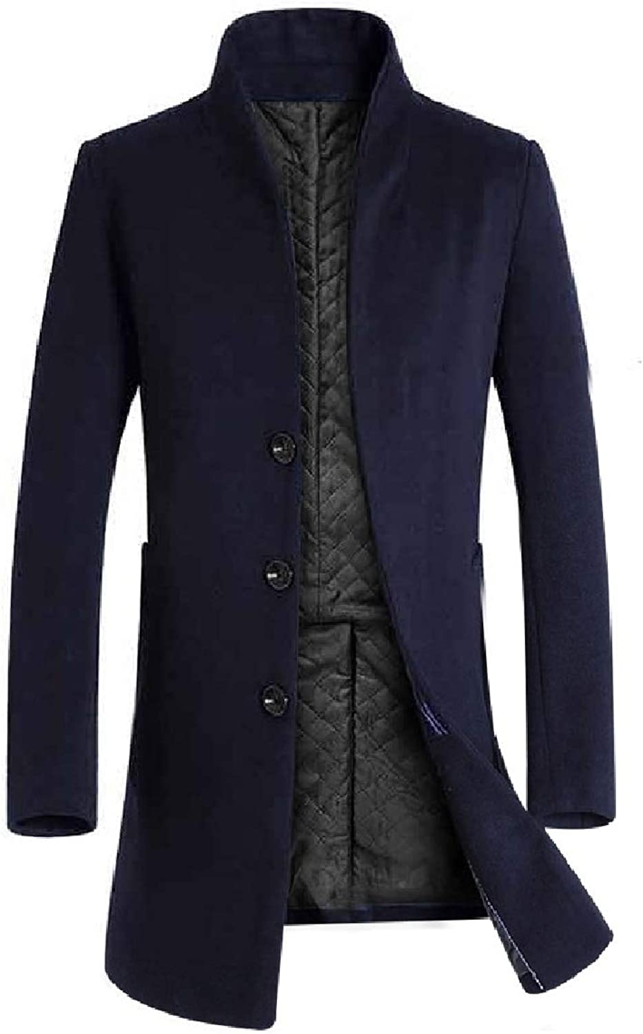 7316d0ed33 Sayah Mens Stand Collar Pocket Pocket Pocket Solid Mid-Long Button Plus Size  Woolen Coat 7a2c12