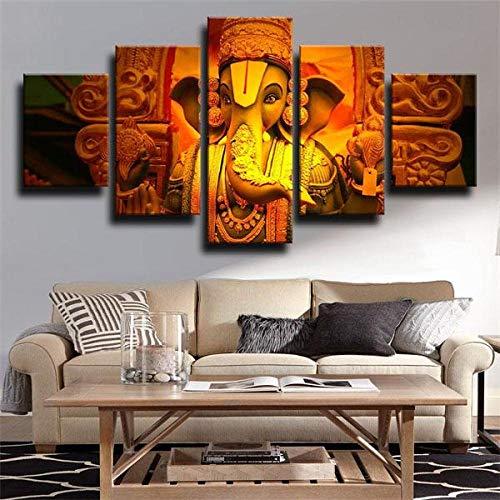 BDFDF 5 Piezas Cuadro En Lienzo 5 Lienzos Impresión Cuadros Señor Hindú De Ganesha 5 Murales Decorativos Pared XXL Decoracion para Salón Dormitorio Pared Listo para Colgar Marco 150X80Cm