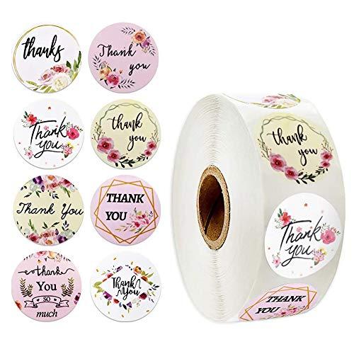 500PCS Pegatinas de Thank You Redondo Adhesivo Galletas Bolsa Cumpleaños Boda Día de Acción de Gracias Bolsa Regalos Artesanía rollo para regalos hechos en casa 1 pulgada