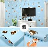 LZYMLA - Papel pintado autoadhesivo de PVC, para dormitorio, sala de estar, habitación de los niños, decoración de gabinete, impermeable, fondo de pared, 60 cm x 5 m, diseño de zorro azul