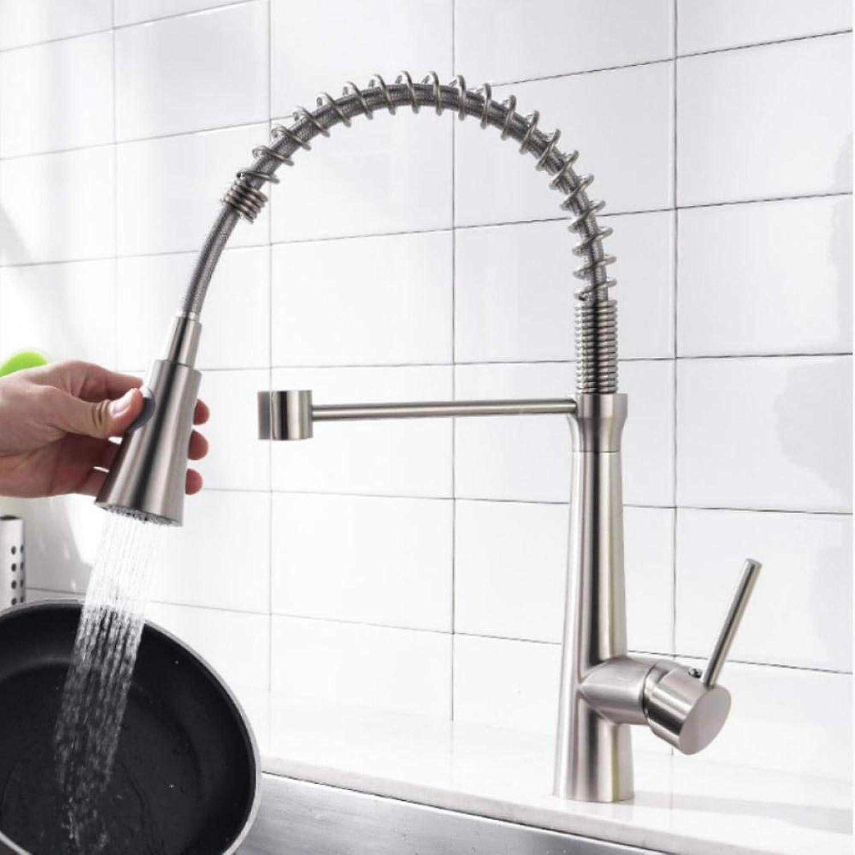Gorheh Küchenarmaturen Einhand-Pull-Down-Spültischbatterie 360-Grad-Drehung Nickel Gebürstet Küchenarmaturen