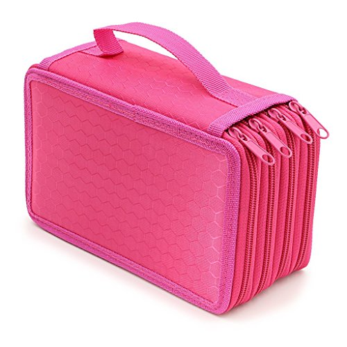 Rashen 72 grande capacité multi-couche Portable Holder Trousses Insertion Sac pochette Coloration Pencils Organisateur pour l'école Bureau adolescents (crayons non inclus) rose