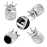 Valve Stem Caps, Car Wheel Tire Valve, 4 Pack Handmade Crown Crystal Rhinestone Car Stem Air Caps Cover, Attractive Dustproof Bling Car Accessories, Universal for Most Vehicles (B-White)