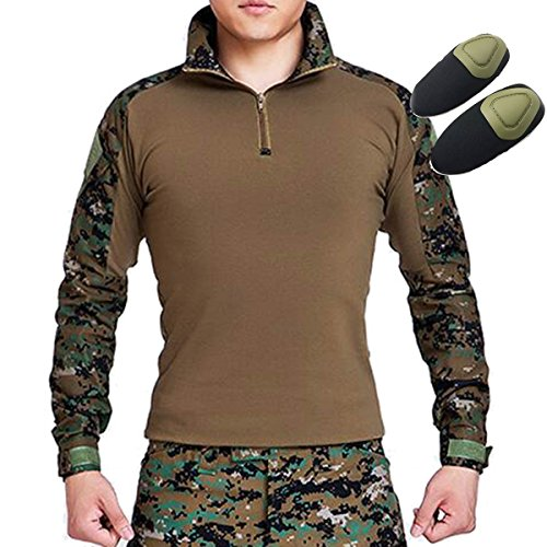 Tactical Hunting Military Long Sleeve Shirt with Elbow Pads Camo Digital Woodland (XXL)