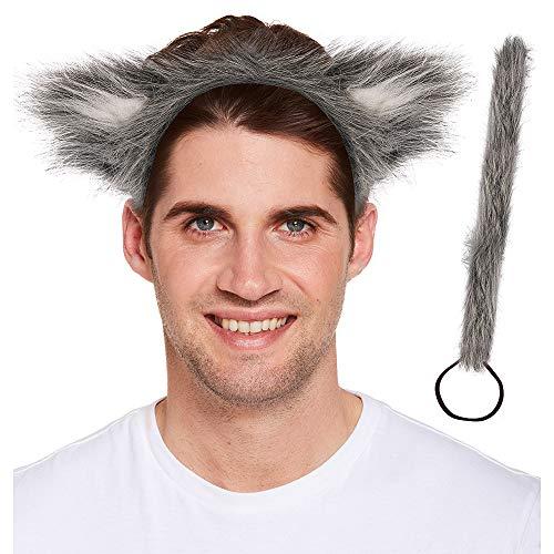 HENBRANDT Adulti lupo orecchie e la coda Funky Animal vestito operato dal set di accessori per Book Day