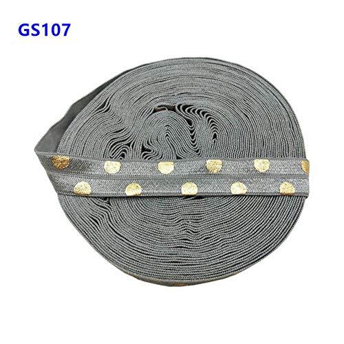 SQJU 10 mètres 15 MM Or et Feuille d'or Rose à Pois Impression Plier sur Bande élastique Extensible Cheveux Attaches Serre-tête Accessoires, GS140
