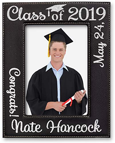 Picture-Frames-by-StockingFactory Engraved 5x7 Black Leather Graduation Photo Frame High School College Gift for Party Decoration Centerpiece Grad Favor