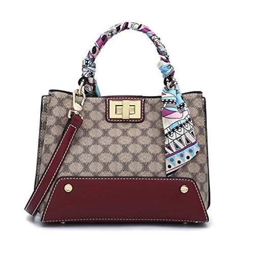 MWY Damenhandtasche, Europäische und Amerikanische Mode mit Aprikosenmuster, Braune Ledertasche Mit Seidenschal