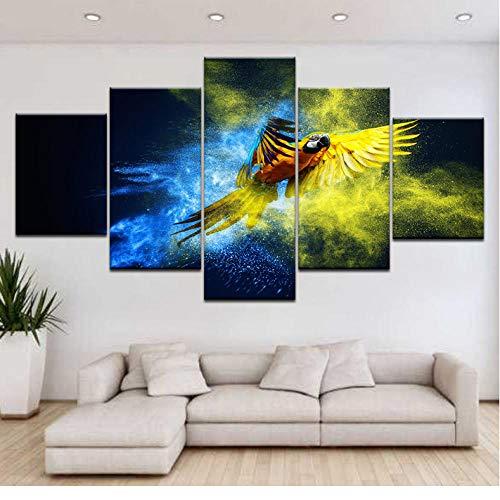 Wuyii 5 paneel/stuks bedrukt kleurrijke papegaai vliegen dier muur poster druk op canvas kunst schilderij voor thuis woonkamer decoratie 20 x 35 cm x 2/20 x 45 cm x 2/20 x 55 cm x 1