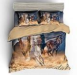 YTBDWOSQ® Bettwäsche 135X200 cm Tierpferd 3 Teilig Bettbezug Deckenbezug Mit Reißverschluss Und Kissenbezug Microfaser Anti-Allergie Feuchtigkeitsresistent Angenehm Weich Leicht Zu Reinigen