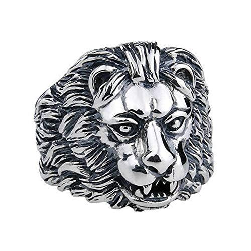 EzzySo Anillo de Cabeza de león, Personalidad Estadounidense Dominio de la joyería de Anillo Retro de Titanio de Acero de Titanio (2 PCS),11