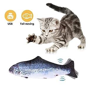 Afaneep Juguete Hierba Gatera, Juguete Gato Pez Interactivo Peluches Pescado Juguete Pez Electrico Automático para Gatos Gatito 16