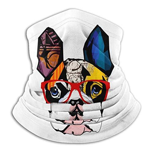 Calentador de Cuello Bulldog francés Retrato Calentador de Cuello Pasamontañas a Prueba de Viento Capucha de Lana Sombreros de Invierno UV Gratis