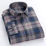 Camisa Otoño Cálido Algodón Camisas De Manga Larga Cuello Vuelto Camisas Casuales Cómodas Camisetas Masculinas A Cuadros XXXL BLN