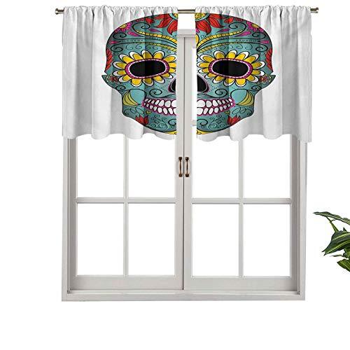 """Hiiiman Cenefa corta recta, diseño de calaveras con texto en inglés """"Day of the Dead"""", juego de 1, 127 x 45 cm para ventanas de cocina"""