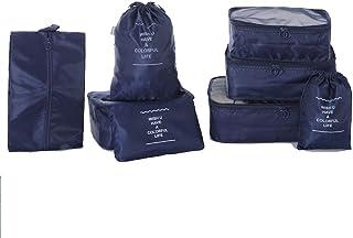 مجموعة من 8 مكعبات للتعبئة ومنظمات السفر مع حقيبة أحذية غسيل وحقيبة تغليف للسفر ومنظم حقائب السفر للأمتعة