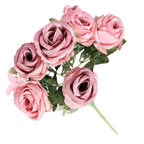 Guangcailun Decoración Floral de la Flor de la simulación Artificial de la Flor de Rose Bouquet Inicio Oficina Ornamento Falso