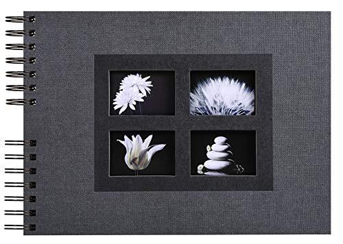 Exacompta 16241E Premium Fotoalbum Passion mit 50 schwarzen Seiten, perfekt für Ihre Fotos zum selbstgestalten Fotobuch Spiralalbum schwarz