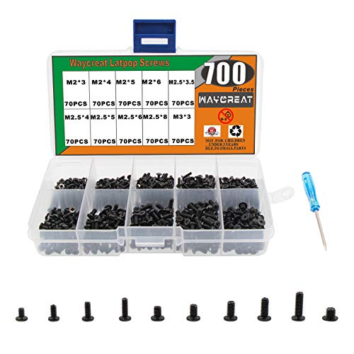 Waycreat 700pcs M2 M2.5 M3 Laptop Computer Screws Kit Set for SSD IBM HP Dell Lenovo Samsung Sony Toshiba Gateway Acer Hard Drive SATA, (10 Size)