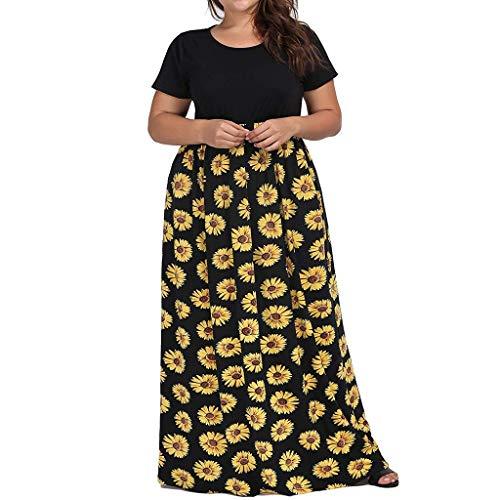 URIBAKY Vestido De Fiesta De Mujer De Gran TamañO, Vestidos Largos Casuales De Manga Corta con Cuello Redondo Y Manga Larga, Falda con Estampado De Crisantemo Y Una LíNea