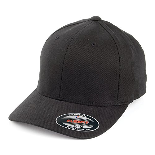 Village Hats Casquette en Coton Sergé Brossé Mid-Pro Noir Flexfit - Small/Medium