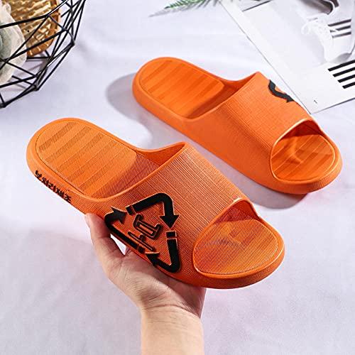LLGG Hombre Baño Sandalias de Punta,Zapatos de Barrido Antideslizantes de baño, desodorantes Suaves Zapatillas Inferiores-Naranja_40-41,Zapatillas de baño para el hogar