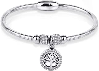 Jude Jewelers Stainless Steel Magnetic Tree Life Charm Bangle Bracelet Cocktail Party