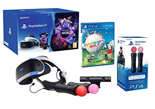 PlayStation VR2 (CUH-ZVR2) Everybody's Golf + VR Worlds + Camera V2 + Paire Move Twin Controllers