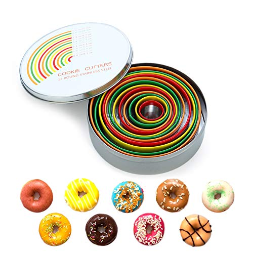 RUNHUAPPY Round Cookie Biscuit Cutters, 12 PSC Circle Cookie Cutter Set, Stainless Steel Duty Pastry Cutter with Colorful Rubber Coating, Donut/Dough/Fondant/Biscuit Baking Tools