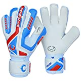 Renegade GK Talon Mirage Goalie Gloves with Pro-Tek Fingersaves | 4mm Hyper Grip & Duratek | White, Blue, Blue Soccer Goalkeeper Gloves (Size 5, Kids, Boys, Girls, Flat Cut, Lvl 3)