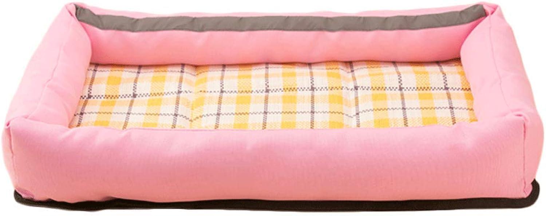 Pet Nest Large Size for Summer Oxford Medium Small Dog Pet Cat Litter Mattress Summer Pet Supplies (color   Pink, Size   L (66  46  8cm))