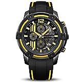 MEGIR Men's Analogue Sport Quartz Wrist Watches with Soft Yellow/Black Silicone Strap Chronograph Luminous Auto Calendar Waterproof Function (2097 Yellow)