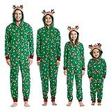 hellomiko Coincidencia de la Familia Pijamas Navidad Festival Onesie Una Pieza Xmas Ciervo Encapuchado Mono Sleepwear Loungewear para Miembro de la Familia
