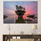 sanzangtang Rahmenlose Malerei 3 Panel Modular Lake Michigan Huron Poster Felsbäume Landschaft Landschaft Sonnenuntergang LandschaftAY4123 30x60cmx3