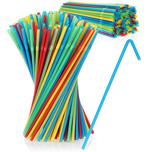 COM-FOUR® 450x Flexible Trinkhalme - Knick-Strohhalme aus Kunststoff - Kunststoffröhrchen in bunten Farben (0450 Stück - bunt)