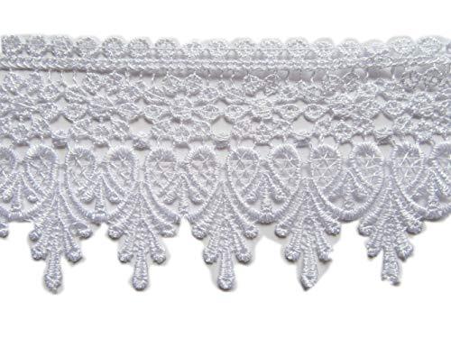 YYCRAFT 5 Yards White Lace Edge Trim Wedding Applique DIY Sewing Crafts(Width:3.5