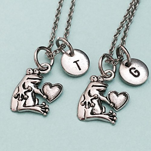 friends necklace sister necklace monogram best friend jewelry frog charm bff necklace initial frog necklace Best friend necklace