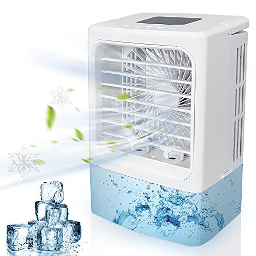 Mini acondicionador de aire acondicionado, acondicionador de aire móvil 600 ml Ventilador de aire acondicionado portátil con 3 velocidades y 2 nebulización, 7 luces LED para el hogar y la oficina