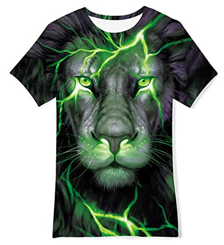 TUONROAD Jungen Mädchen Kurzarm T-Shirt Kinder 3D Bunte Löwe Drache Lustiges T-Shirt 10-12 Jahre