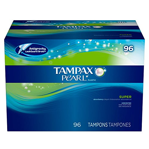 Mega Value Pack Tampax Pearl Plastic, Super Absorbency Unscented, Anti Slip Grip , Extra Protection Layer, Form fit and Easy to use Tampons, with Built in Backup 96 Count
